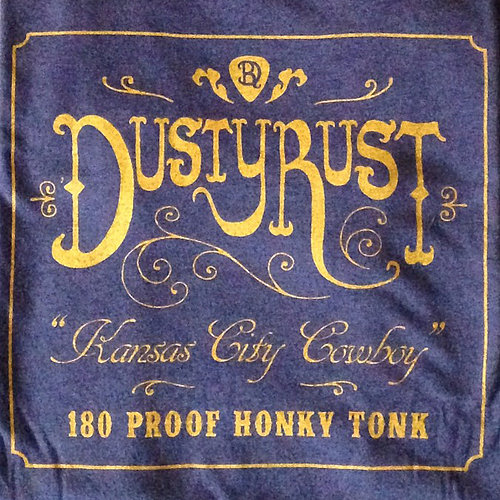 Dusty Rust whiskey label blue T-shirt
