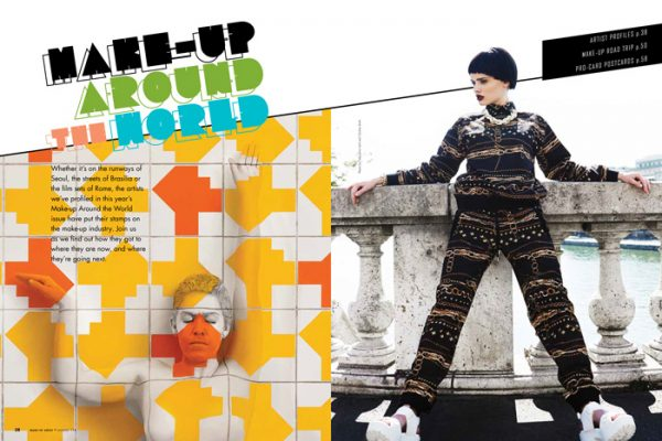 Make-up Around the World article magazine cover spread