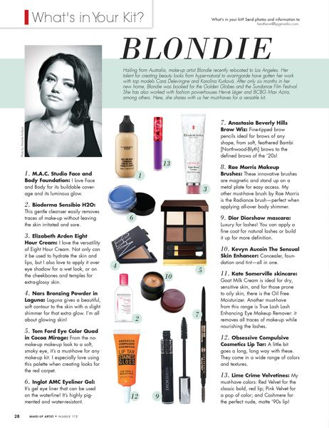 Magazine page layout for the column What's In Your Kit