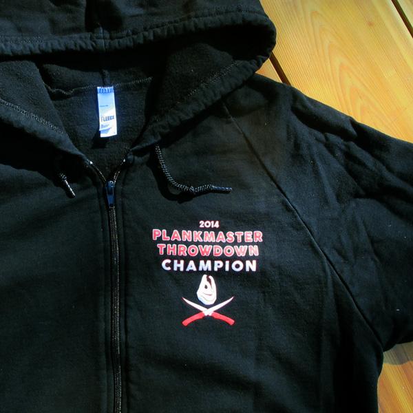 Plankmaster Throwdown 2014 shirt, front left chest
