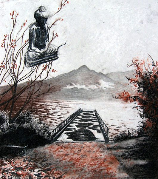 "Drawing ""The Bridge"", conte on paper, 2010"
