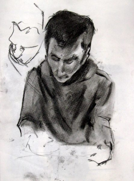 "Drawing ""Sam Drawing"", charcol on paper, 11""x15"", 2006"