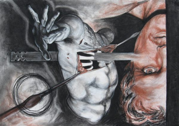 "Drawing ""Surgery"", conte on paper, 20""x28"", 2006"