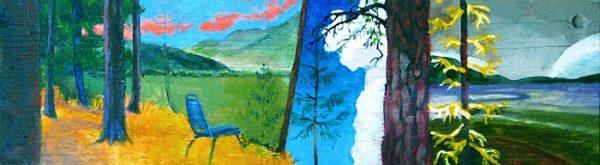 """At the Boneyard"", acrylic painting on found wood, 2010"