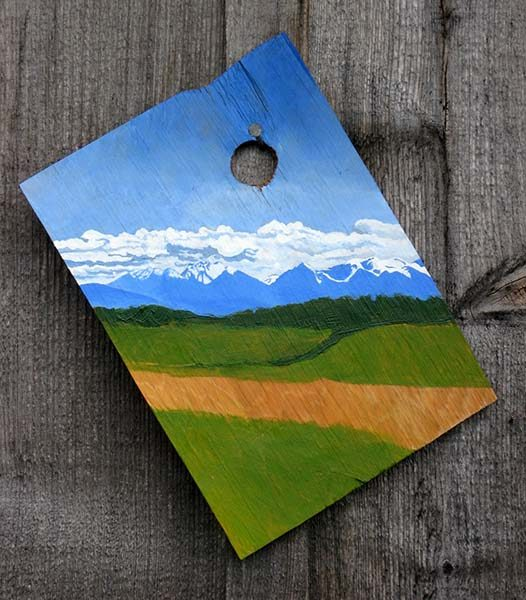 """""""Olympic Skyline From the North"""", acrylic on found wood, 10""""x7"""", 2007"""
