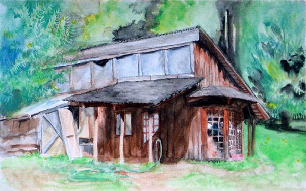 """""""Cani Cabin"""", watercolor, 5""""x8"""", 2006"""