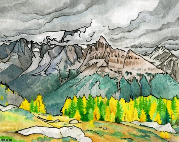 """""""Jumbo in the Fall"""", watercolor and ink, 11""""x15"""", 2015"""