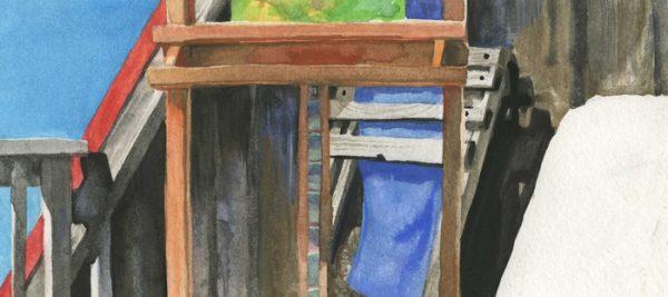 """""""Lopez Deck"""", watercolor, 7""""x9"""", 2009"""
