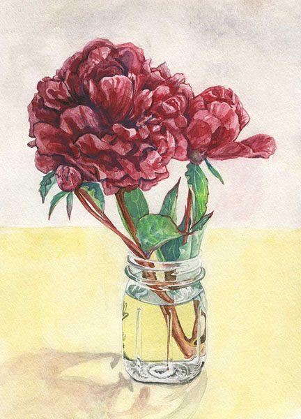 """Peony"", watercolor, 7""x9"", 2009"