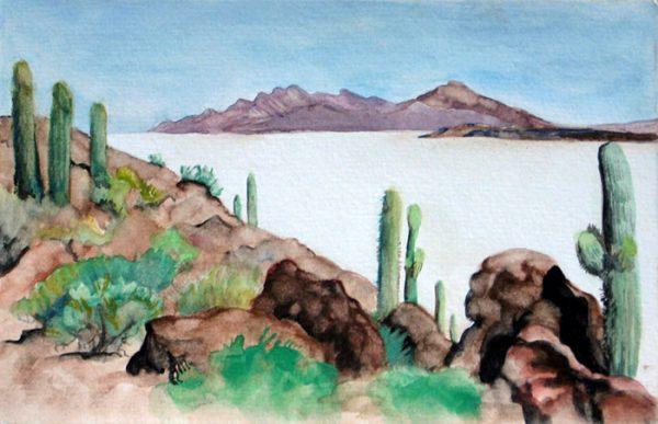 """""""Bolivian Salt Flats"""", watercolor, 5""""x8"""", 2006"""