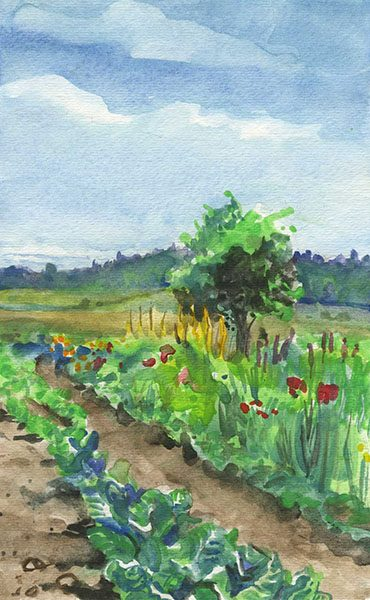 """Susan's Garden"", watercolor, 5""x8"", 2009"