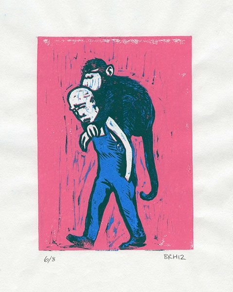 """One Monkey Don't Stop the Show"", linocut print, 7""x9"", 2007"