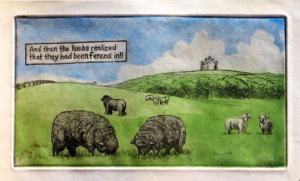 #2 Shepherd and Sheep Series, Multi-Plate Intaglio Print on Paper, 2006