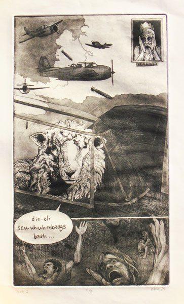 #1 Shepherd and Sheep Series; Intalgio (Solar Plate) Print on Paper, 2006