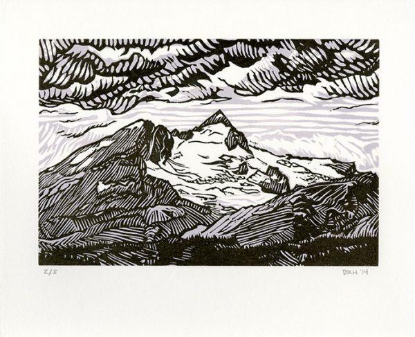 """Yoho"", 2-color lino block print, 2013"