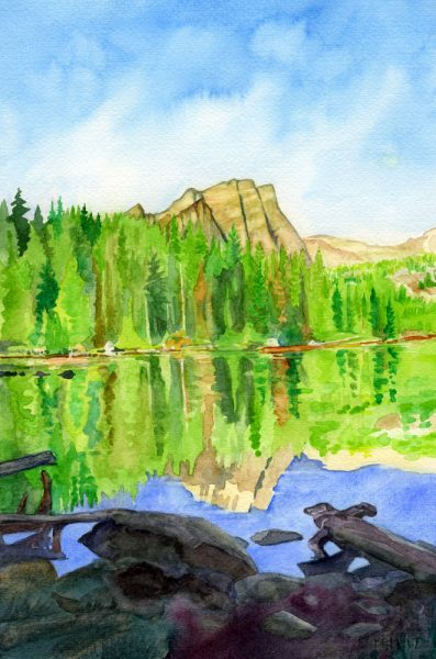 watercolor of Keer Lake in St. Mary's Alpine Provincial Park