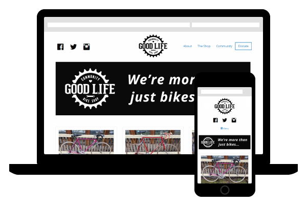 mock up of Good Life Bikes website